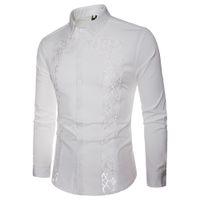 21cc3ec516 JAYCOSIN Hombre otoño 2019 barato Casual Camisas de encaje Camisa de manga  larga Camisa hueca Top camisas de hombre slim fit masculino