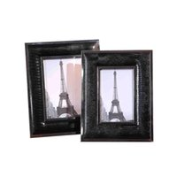 enfeites de metal preto venda por atacado-quadro preto da foto de couro definido 6 polegadas de 7 polegadas moldura fase de metal modelo de quarto decoração ornamentos