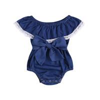 kızlar yaz olanlar toptan satış-Bebek Kız Tulum 2019 Yaz dantel Yenidoğan Onesies Giyim Denim Sevimli Toddler Romper Butik Bebek Bodysuit Giyim çocuk giyim