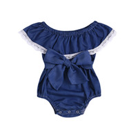 onesie lindo de los niños al por mayor-Mamelucos de las muchachas del bebé 2019 encaje de verano recién nacido Onesies ropa Denim lindo Toddler Romper Boutique Infant Body Ropa de niños