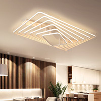 oscurecimiento de la lámpara al por mayor-Hot new design Remote dimming Modern Led Chandelier Para sala de estar dormitorio plafon led cuadrado blanco moderno araña accesorios