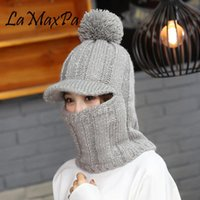 LaMaxPa 2018 New Fashion Solid Thick Women Scarf&Hat Sets With Pompom 1Pcs Knitted Winter Warm Beanis Wrap Windproof Dropshiping