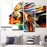 soyut panel tuvali baskılar toptan satış-Soyut Renkli Kadın Saç Çerçevesiz Boyama Modern Tuval Duvar Sanatı Ev Dekor HD Baskılı Resimler 4 Paneller Posteri