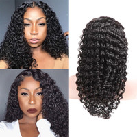 Wholesale human hair wigs for sale - 360 Full Lace Human Hair Wig With Baby Hair Deep Wave Natural Color Density Bleached Knots Natural Hairline Full Lace Wig