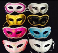Wholesale lace mask makeup resale online - Halloween Party Mask Makeup Evening Dance Half Face Lace Flat Head Lace for Men and Women WL743