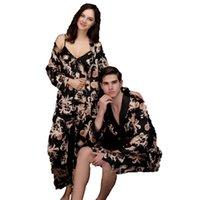 gece elbiseleri deniz kızı elbiseleri toptan satış-Kadınlar için pijama gece elbise mermaid sahte ipek elbisesi 3 adet / takım 2019 seksi kıyafeti pijama salonu baskı artı boyutu 3XL