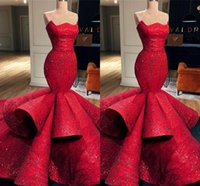 vestido vermelho de sequin venda por atacado-Chegada nova Red Mermaid Sweetheart Satin Formal Evening Dresses 2019 Lace Sequins Long Prom Dresses Pageant Vestidos BC0888