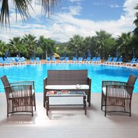 Wholesale garden tables chairs for sale - Group buy 4 Pieces Outdoor Furniture Rattan Chair Table Patio Set Outdoor Sofa for Garden Backyard Porch and Poolside Brown