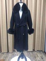 damen lange länge wollmäntel großhandel-Heißer verkauf zweireiher mantel echte fuchspelz getrimmt frauen jacke lange länge winter weiche damen wolle mäntel