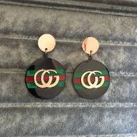 rote schalenperle großhandel-Mode Buchstaben G Ohrringe rosa Gold Farbe grün rot Tropfen Ohrring mit Perle für Frauen Mädchen Partei Schmuck