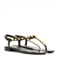 Wholesale black latex thong resale online - fashion Black soft Leather Francis Thong Sandals mens and womens causal flat beach slip on sandals studs