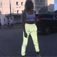 xl kadınlar için harem pantolonu toptan satış-Kadın Aydınlık Streç Pantolon Gri Yansıtıcı Elastik Rahat Pantolon Moda 2019 Kadın Gevşek Harem Sweatpants