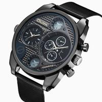 группа oulm оптовых-Марка OULM 9316 Мужские часы из нержавеющей стали группы Кварцевые часы Dual Time Zone Военные Спорт Net Часы Relogios Мужчина для