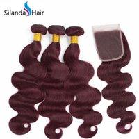 satış kapatma için saç paketleri toptan satış-Silanda Saç Sıcak Satış # 99J Vücut Dalga Brezilyalı Remy İnsan Saç 4X4 Dantel Kapatma Ücretsiz Kargo Ile 3 Dokuma Paketler Örgüleri