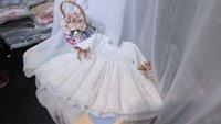 mädchen weißes baumwollspitzekleid großhandel-Spanien design mädchen kleidung mädchen kinder halbe hülse weiße spitze blume kleid 100% baumwolle exquisite sommer prinzessin kleider