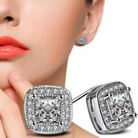 Wholesale zircon diamond earring resale online - Luxury Fashion AAA Zircon diamond Earrings Real platinum K White Gold Plated Stud Earring for Women Wedding Gift