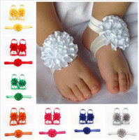Wholesale baby barefoot sandals headband for sale - Group buy Girls Barefoot Sandals Baby Accessories Baby Girl Kids Flower Barefoot Sandals Shoes Headband Flower Foot Band Carnation Hairband E361