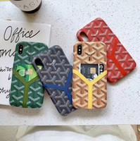 echtes leder iphone karte großhandel-Stripe Print Vegan Echtes Leder Card Slot Wallet Back Cover Gedruckt Brief Echtes Holster Telefon Shell für iPhone XS Max XR 6s 7