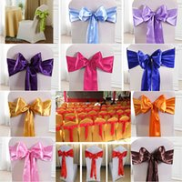 krawatte stuhl bankett großhandel-Elastische Stuhlbandabdeckungen Schärpen für Hochzeit Bowknot Krawatte Stühle Schärpen Hotel Meeting Hochzeitsbankett Liefert HH7-2018