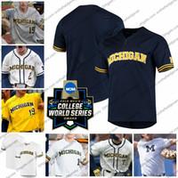 camisa de beisebol 15 venda por atacado-CWS 2019 Michigan Wolverines Baseball Jersey 5 Christan Bullock 7 Jesse Franklin 10 Blake Nelson 12 Riley Bertram 15 Jimmy Kerr S-4XL