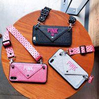 carteira rosa de luxo venda por atacado-Luxo rosa glitter bordado capa de couro para iphone 7 7 plus moda onda ponto colhedor caso para iphone xs max x 8 6 6 s além de