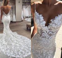 pérolas de renda de casamento venda por atacado-Pérolas frisadas Spaghetti Strap Lace vestidos de casamento 2019 Lindo 3D-Floral apliques Boho vestidos de noiva Zipper Low Back Trumpet vestido de noiva
