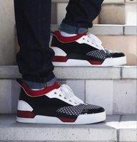 paten ayakkabıları tasarla toptan satış-Mükemmel Kalite Homme Ayakkabı Kırmızı alt Sneakers Aurelien Düz Eğitmenler Rahat Açık Sneaker Orta kesim Paten Ayakkabı Lüks Tasarım 38-46