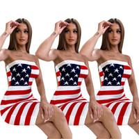 ingrosso vestito senza spalline del bodycon del tubo-Star US Flag bodycon abiti bodycon vestiti dalla fasciatura 2019 designer dress Sexy senza spalline Stripes Tube Skirt night club abiti Vestiti C71202