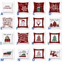 almohadas de camiones al por mayor-Cojín Almohada de Navidad de la tela escocesa Feliz Navidad fundas de cojines del árbol de navidad ciervos Camión del partido del hogar decorativo 16 estilos HH9-2501