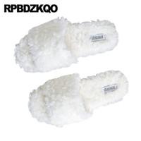 zapatillas blancas y esponjosas al por mayor-Interior de piel sintética blanco coreano zapatos esponjosos zapatillas de casa productos más populares casa borrosa mujeres sandalias punta abierta llano