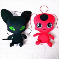 Wholesale keychain good resale online - Miraculous Ladybug cm plush toys cartoon Stuffed Animals soft doll good quality keychain Pendant plush kids toys
