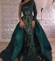2020 Sparkly Emerald Green Mermaid Prom Dresses One Shoulder Appliques Sequins Overskirts Plus Size Evening Dresses Women Formal Party Gowns