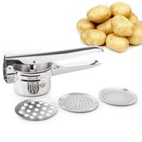 manual de la máquina de cocina al por mayor-Inoxidable Masher Potato y Ricer Exprimidor manual Exprimidor Exprimidor Potato Baby Food Machine Suplemento Herramientas de cocina multifuncionales