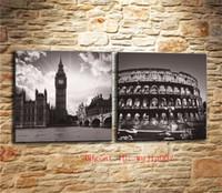 pintura a óleo grande ben venda por atacado-Big Ben e Coliseu, 2 P Pintura Da Lona Sala de estar Home Decor Modern Mural Art Pintura A Óleo
