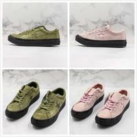 ingrosso disegno stella rosa-La nuova scarpa casual di design vintage in pelle scamosciata vintage Convas Star degli anni '70 rende le scarpe vulcanizzate della vecchia edizione Sneakers verde rosa