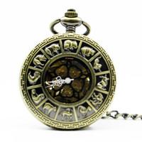 reloj de bolsillo del zodiaco al por mayor-Best Antique Vitage Zodiac Constellation Patrón Case Hollow Pocket Watch Australia Mapa Fob Reloj Hombres Mujeres PJX1297
