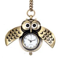 ingrosso owl a forma di orologio-L'orologio da tasca sveglio sveglio bello caldo con la collana del regalo della ragazza del ragazzo degli studenti della collana della vigilanza della catena a forma di gufo della collana libera il trasporto