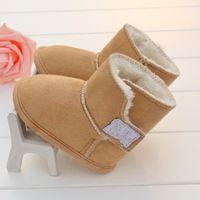 meninos sapatos quentes venda por atacado-Kid Sapatos de Grife de Inverno Quente Sapatos de Bebê Recém-nascidos Meninos Clássico Primeiro Walker Sapatos de Sola Macia Prewalkers Infantis Frete Grátis