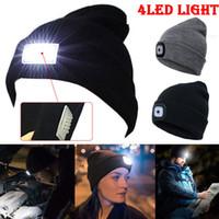 gorros de campamento al por mayor-Nuevo diseño 4 LED Head Lamp Knit Beanie Hat Light Cap Camping Pesca Caza Al aire libre