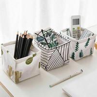 cajas de tela para almacenamiento al por mayor-Inicio dormitorio envío de la oficina del recipiente de almacenamiento del armario Toy Box organizador del envase de la tela de lino Basket Basket gratuito