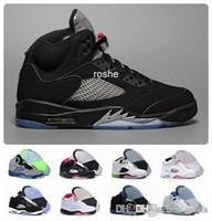 ingrosso 5s genuino di cuoio-Nuovo 5 Og scarpe da basket uomo metallizzato nero all'ingrosso di alta qualità in vera pelle 5s Air Sneakers Eur 41-47 Us 8-13