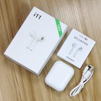 versão sem fio venda por atacado-I11 TWS Mini Bluetooth Fone de Ouvido Sem Fio Baixo Earbud Bluetooth 5.0 Versão Estéreo Com Caixa De Carregamento Mic para Todos Os Apple Android telefone DHL