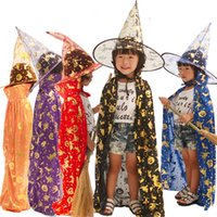 Wholesale costumes for magicians for sale - Group buy Halloween cloak childrens clothing cloak hat for school bar and mall masquerade cosplay unisex magician witch costume