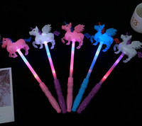 Wholesale unicorn birthday party supplies for sale - Group buy Unicorn Theme Party Light Up Glow Stick Toy Children Girl Birthday Supplies Decoration Led Flashing Pony Magic Wands Christmas presents