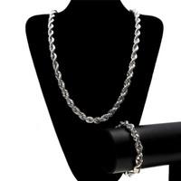 ingrosso collane di gioielli-10mm 6mm catena di corda in acciaio inossidabile braccialetto collana Jewellry Set di nuovi uomini di moda gioielli hip hop ghiaccio fuori 18 k placcato oro catene di collegamento