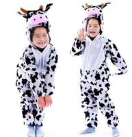 disfraz de vaca al por mayor-Nuevo estilo el 2018 niños cosplay Vaca cebra tigre Adecuado para niños y niñas Traje de escenario estilo corto bailando vestimenta