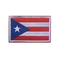 remendos militares da bandeira venda por atacado-3D Porto Rico Bandeira Bordado Remendo Americano EUA Morcego Do Exército Militar Tático Emblemas Emblemas Apliques Patches Bordados