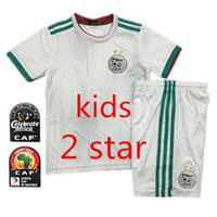 Wholesale soccer jersey team kit white for sale - Group buy 2019 Algeria stars Kids kit home white Soccer Jersey Algeria MAHREZ Child Soccer Shirt BELHAJ Boy National Team Football