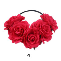 Wholesale hair band rose red for sale - 10pcs MOQ Colorful Rose Flower Headbands Wedding Headband Hair Garland Accessories Floral Crown Hairband with Elastic Rubber Band