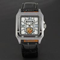relogios mecânicos unisex quadrados venda por atacado-Vencedor 047 Famoso Relógio Vencedor Esqueleto Mão Mecânica Vento Mens Clássico Carving Unisex Relógio de Pulso Rosto Quadrado